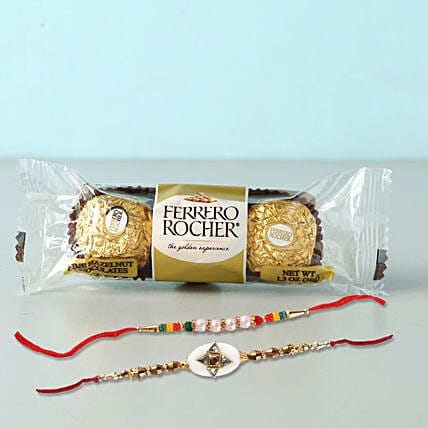 Set of 2 Fancy Rakhis With Rochers: Set of 2 Rakhi Delivery in Bahrain