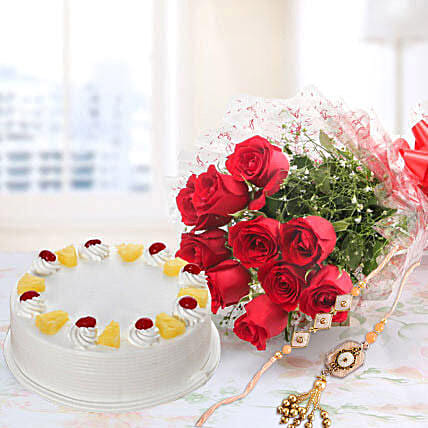 10 Red Roses And Pineapple Cake Combo With Rakhi: