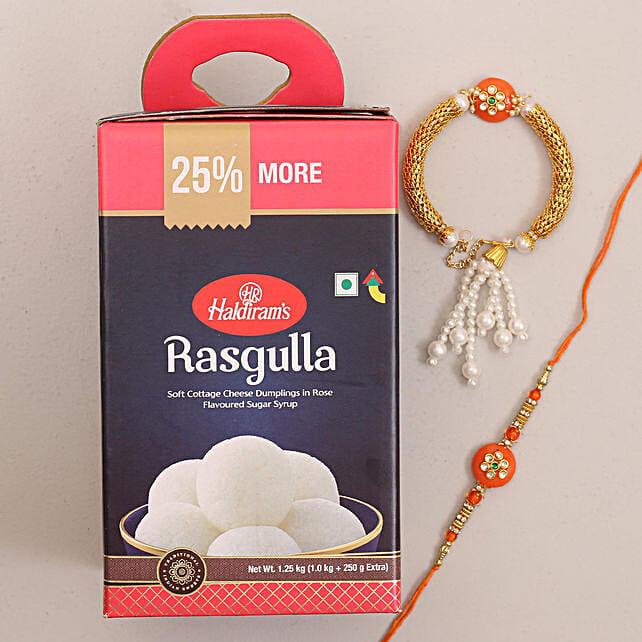 Designer Bhaiya Bhabhi Rakhi and Rasgulla Combo: