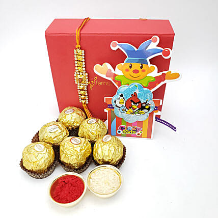 Rakhi With Ferrero Rocher 6 Pieces Combo: Rakhi for Brother to Canada