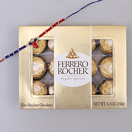 Red and Blue Designer Rakhi and Rocher Combo: