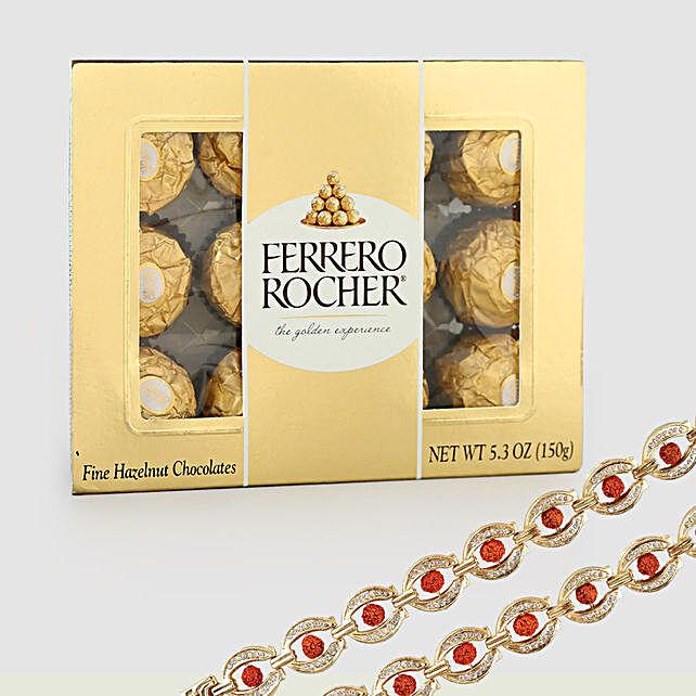 Rocher Choco Box With Rudraksha Rakhis: