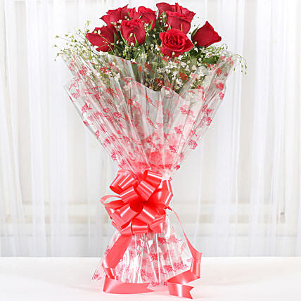 10 Red Roses Exotic Bouquet: Send Flower Bouquets