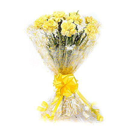 10 Lively Yellow Carnations Bouquet: Carnations
