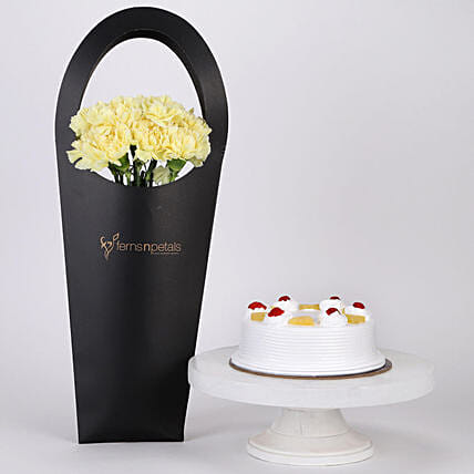 10 Yellow Carnations & Pineapple Cake Combo: Flower Bouquet with Cake