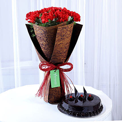 12 Beautiful Red Carnations & Truffle Cake: Cakes Combo