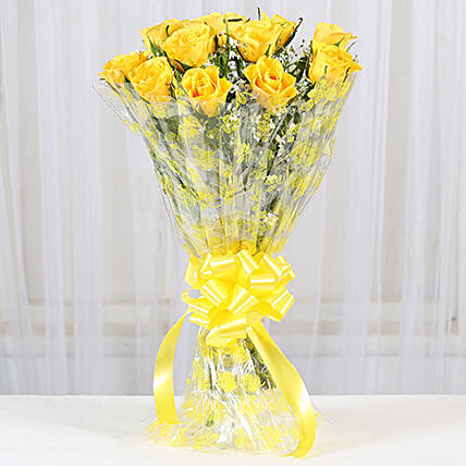 12 Delightful Yellow Roses Bouquet: Yellow Flowers