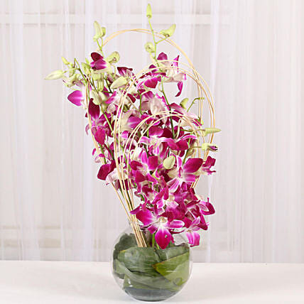 Purple Orchids Vase Arrangement: Send Orchids