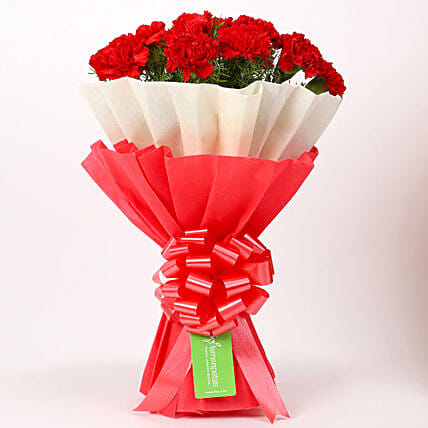 12 Red Carnations Bouquet in Red & White Paper: Send Flower Bouquets