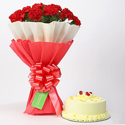 12 Red Carnations & Butterscotch Cake Combo: Flowers N Cakes For Anniversary