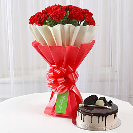 12 Red Carnations & Chocolate Cake Combo: Cakes Combo