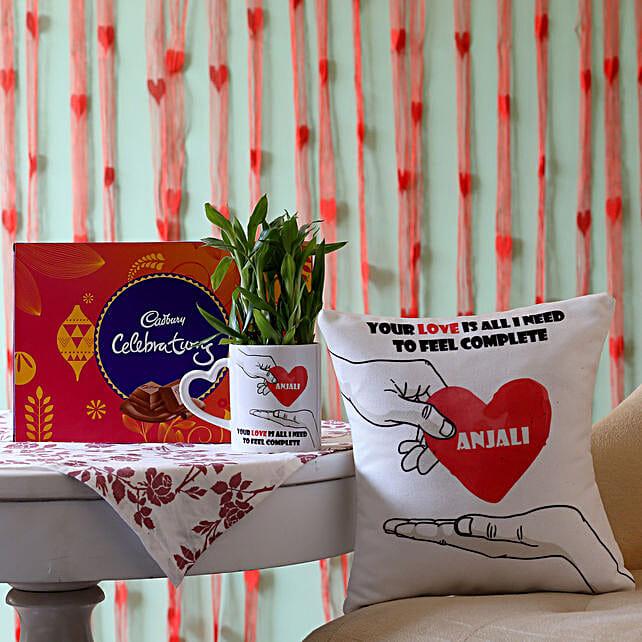2 Layer Bamboo Plant with Cushion & Cadbury Celebrations: Personalised Pot plants