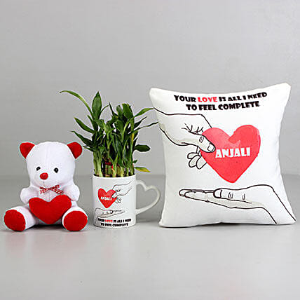 2 Layer Bamboo Plant with Love Cushion & Teddy: