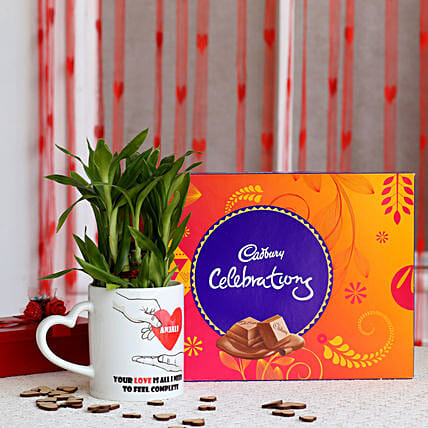 2 layer Lucky Bamboo Plant with Cadbury Celebrations: Chocolate Combo For Valentine's Day