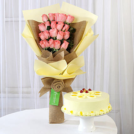 20 Pink Roses Bouquet & Butterscotch Cake: Cakes Combo