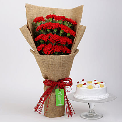 20 Red Carnations & Pineapple Cake: Flowers N Cakes For Anniversary