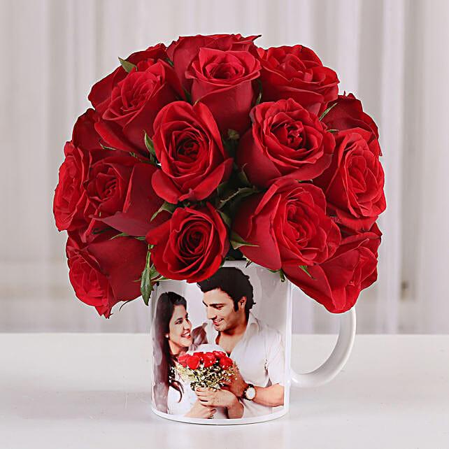 20 Red Roses in White Personalised Mug: Personalised Mugs