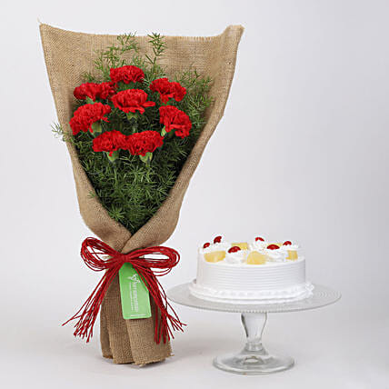 8 Red Carnations & Pineapple Cake: Cake Combos