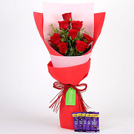 8 Red Roses with Dairy Milk Combo: Cadbury Chocolates