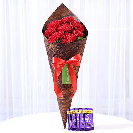 8 Vibrant Red Carnations & Dairy Milk Combo: Chocolate Combos