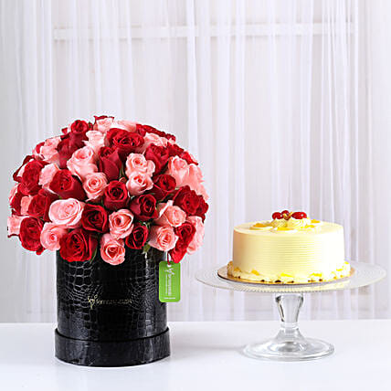 80 Red & Pink Roses Box & Butterscotch Cake: Premium & Exclusive Gift Collection