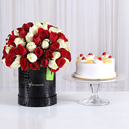80 Red & White Roses Box with Pineapple Cake: Premium Gifts