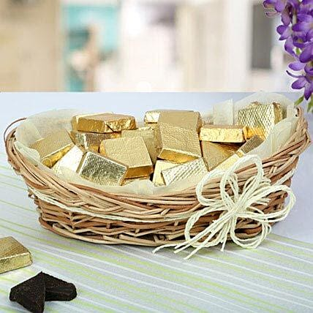 A Basket Of Golden Treat: Handmade Chocolates