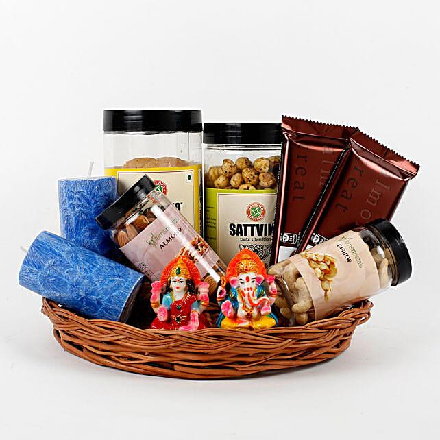Assorted Diwali Goodies Cane Basket: Cadbury Chocolates
