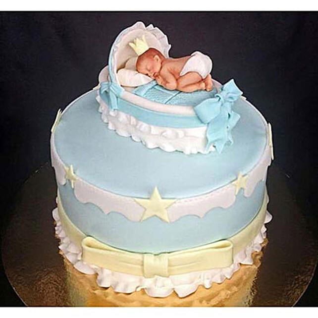 Baby In The Crib Fondant Cake: Send Designer Cakes