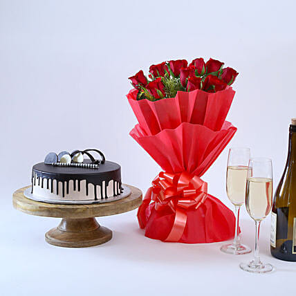 Beautiful Red Rose Hamper: Valentines Day Flowers & Cakes