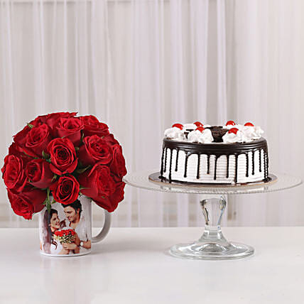 Black Forest Cake & 20 Red Roses Mug: Flowers N Personalised Gifts