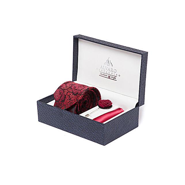 Black & Maroon Accessory Gift Set for Men By Alvaro Castagnino: Send Ties and Cufflinks
