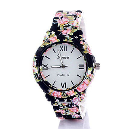 Black N Pink Floral Watch For Women: Buy Watches