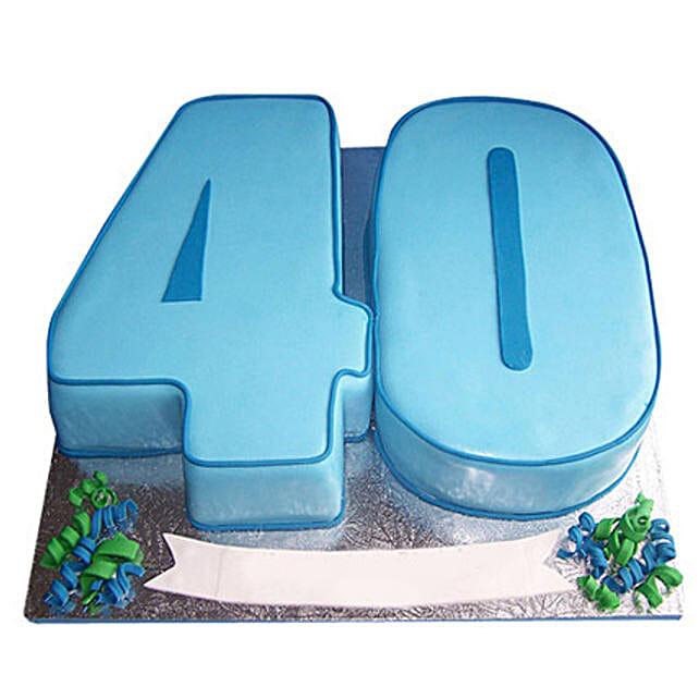 Blue Fondant Cake: Alphabet N Number Cakes