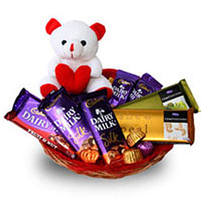 Branded Chocolate Basket: Valentines Day Gift Baskets
