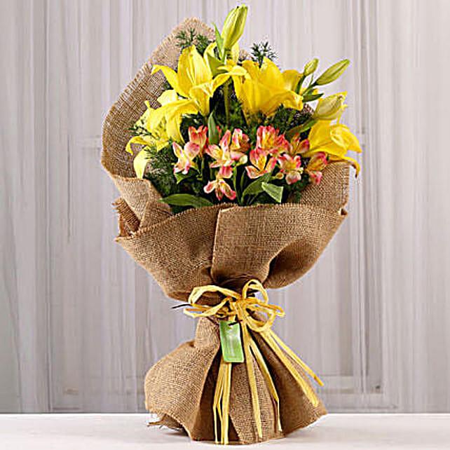Bright Bouquet of Lilies & Alstroemeria: Send Lilies