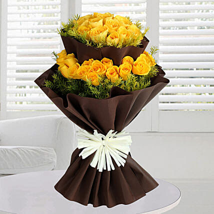 Bright Yellow Roses Bunch: Exotic Rose Arrangements