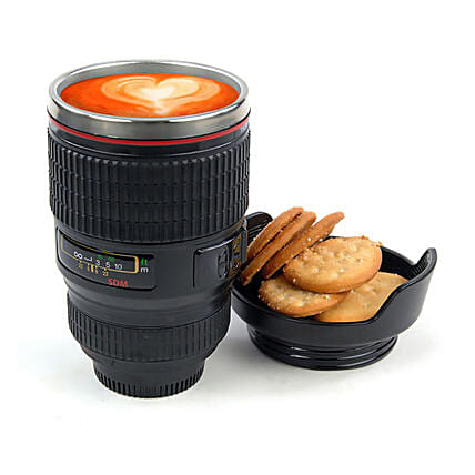 Camera Lens Mug with Lid: Unusual Gifts