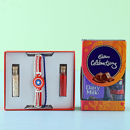 Captain America Rakhi Celebrations Box: Rakhi / Raksha Bandhan Gifts