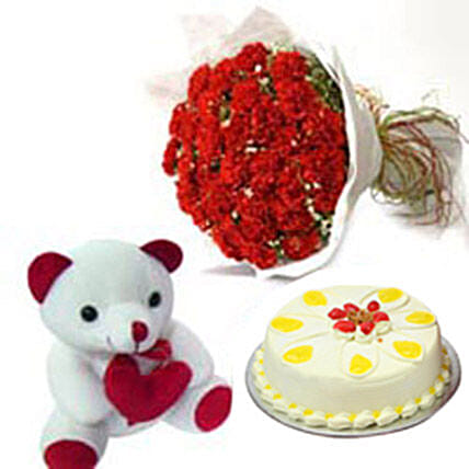 Carnation of Paradise: Send Cake with Teddy