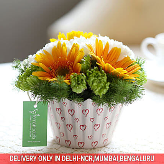 Carnations & Gerberas Cupcake Arrangement: