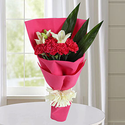 Carnations N White Asiatic Lilies Bunch: Send Carnations