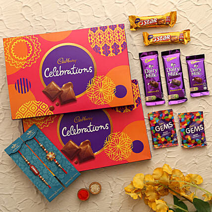 Celebrations Box & Fancy Rakhi Combo: Rakhi With Cadbury Chocolates