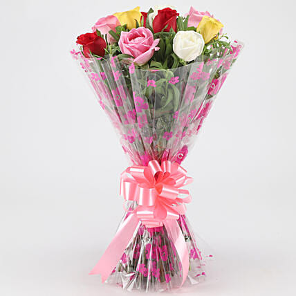 Cheerful Mixed Roses Bouquet: Mixed Colour Flowers