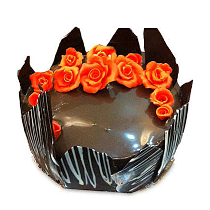 Chocolate Cake With Red Flowers: Cakes to Bhopal