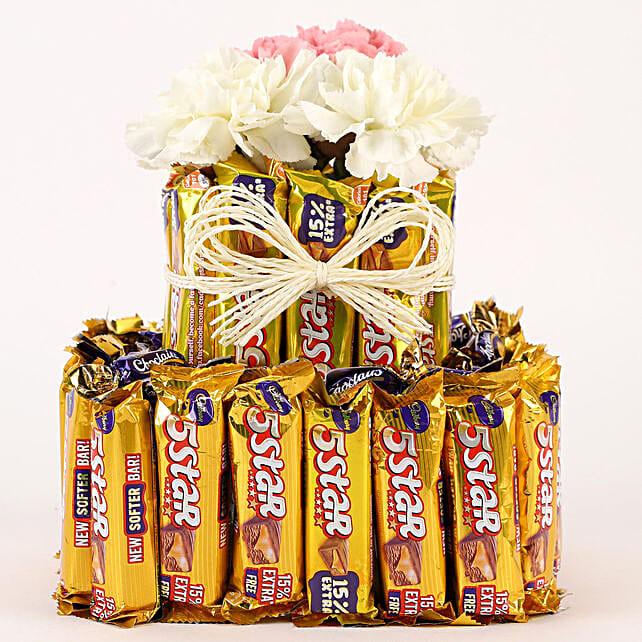 Chocolatey Carnations Premium Arrangement: Send Flowers and Chocolates