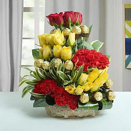 Mixed Flowers & Ferrero Rocher Arrangement: