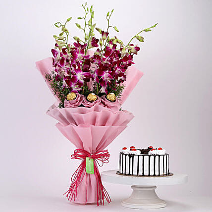 Chocolaty Orchids Bouquet & Black Forest Cake: Flowers & Cake Combos