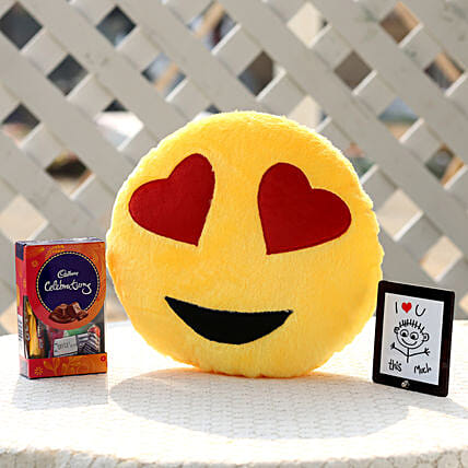 Crazy In Love Smiley Cushion & Celebrations Combo: Cadbury Chocolates