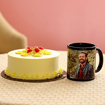 Creamy Butterscotch Cake & Picture Mug Combo: Personalised Gifts Combos